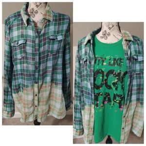 MAURICES RECYCLED GREEN PLAID Button Down Shirt